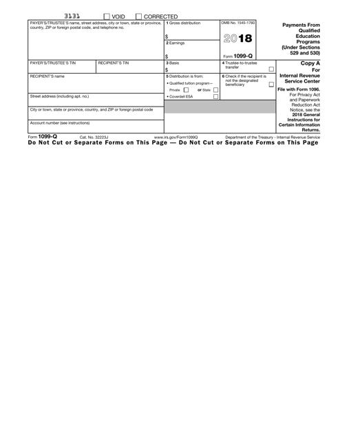 IRS Form 1099-Q 2018 Printable Pdf