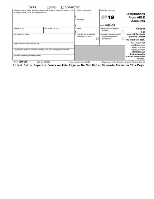 IRS Form 1099-QA 2019 Printable Pdf