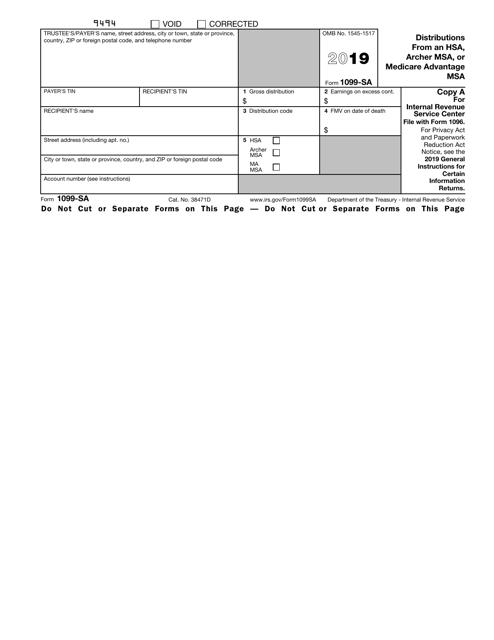 IRS Form 1099-SA 2019 Printable Pdf