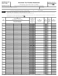 "IRS Form 1120 Schedule UTP ""Uncertain Tax Position Statement"", 2018"