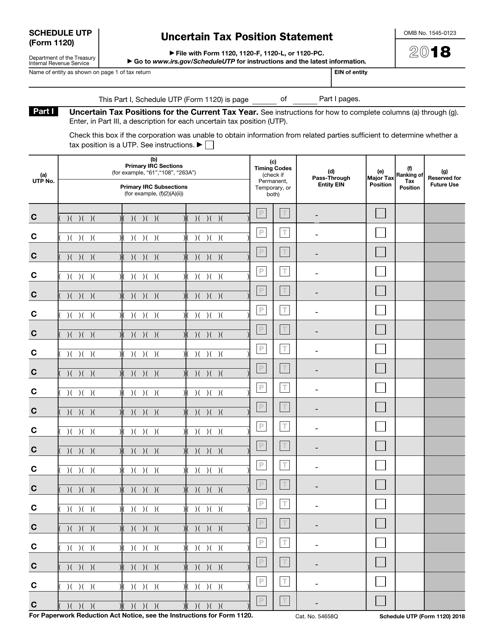 IRS Form 1120 2018 Fillable Pdf