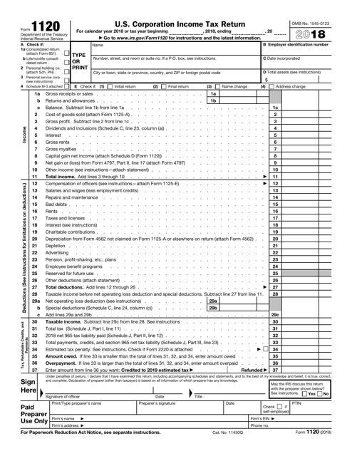 IRS Form 1120 2018 Printable Pdf