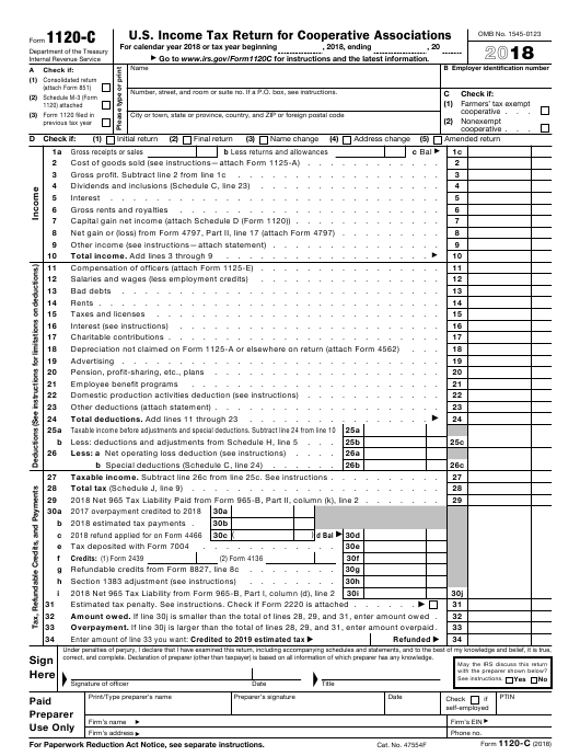 IRS Form 1120-C 2018 Printable Pdf