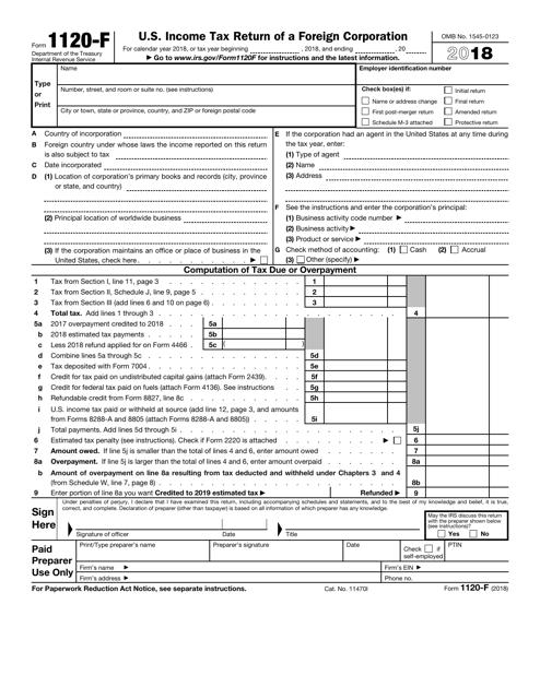 IRS Form 1120-F 2018 Printable Pdf