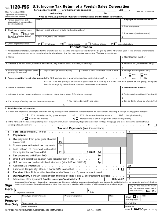 IRS Form 1120-FSC Printable Pdf
