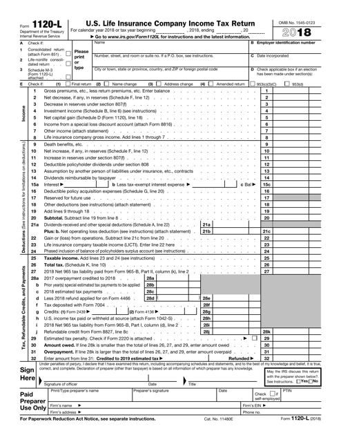IRS Form 1120-L 2018 Printable Pdf