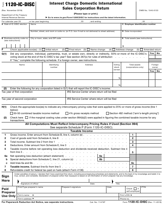 IRS Form 1120-IC-DISC Fillable Pdf