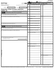 IRS Form 1120S 2018 Schedule K-1 - Shareholder's Share of Income, Deductions, Credits, Etc.