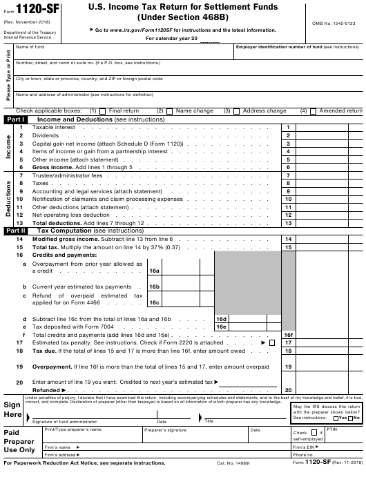 IRS Form 1120-SF Printable Pdf