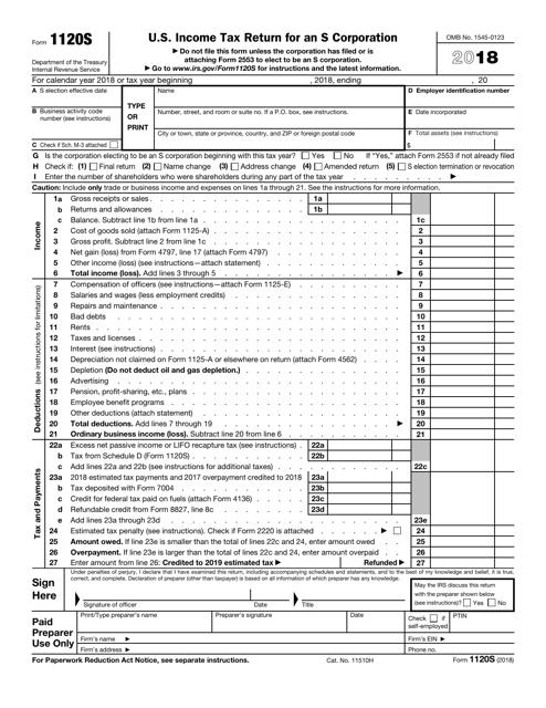 IRS Form 1120S 2018 Printable Pdf