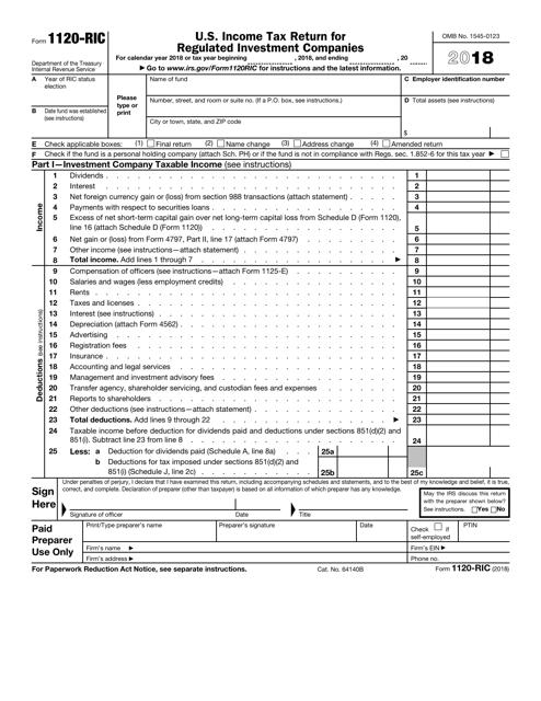IRS Form 1120-RIC 2018 Printable Pdf