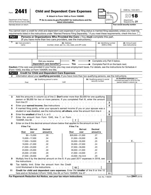 IRS Form 2441 2018 Printable Pdf