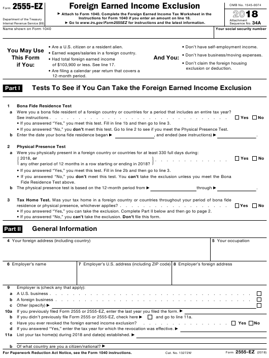 Irs Form 2555 Ez Download Fillable Pdf 2018 Foreign Earned Income