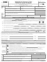 """IRS Form 2350 """"Application for Extension of Time to File U.S. Income Tax Return"""""""