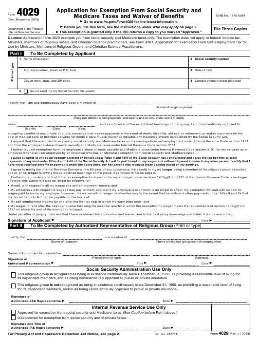 IRS Form 4029 Download Fillable PDF, Application For