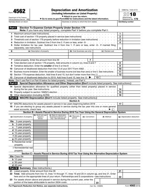 IRS Form 4562 2018 Printable Pdf
