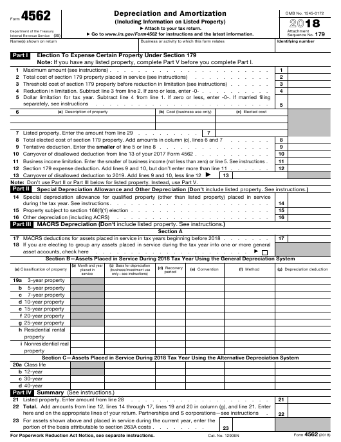 IRS Form 4562 2018 Fillable Pdf