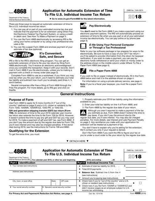 IRS Form 4868 2018 Fillable Pdf