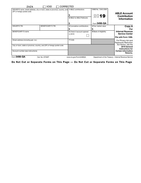 IRS Form 5498-QA 2019 Fillable Pdf