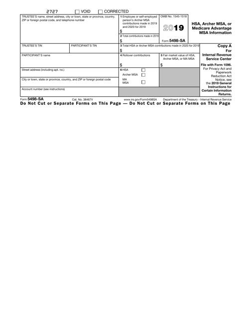 IRS Form 5498-SA 2019 Printable Pdf