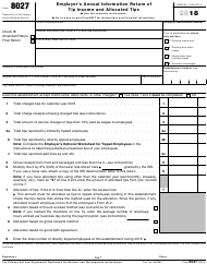 IRS Form 8027 2018 Employer's Annual Information Return of Tip Income and Allocated Tips