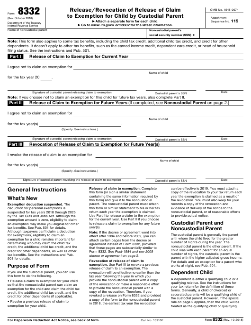 IRS Form 8332  Printable Pdf