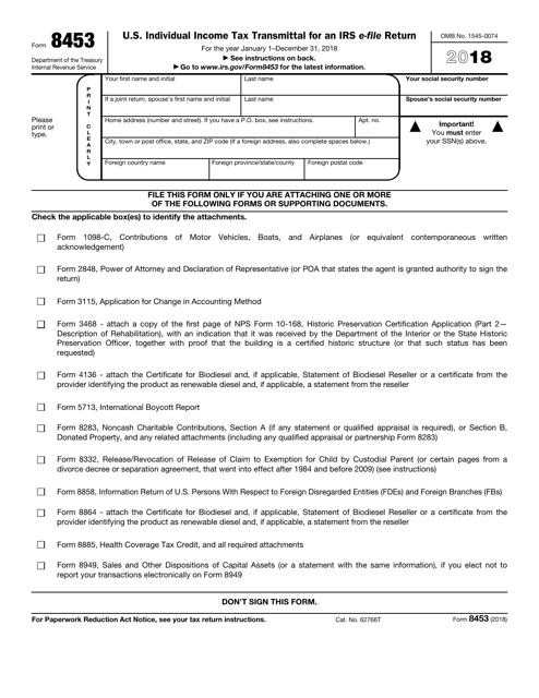 IRS Form 8453 2018 Fillable Pdf