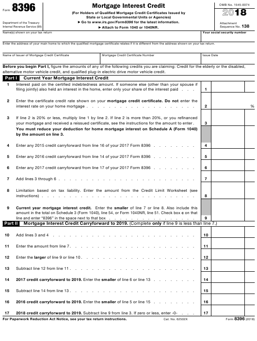 IRS Form 8396 2018 Fillable Pdf