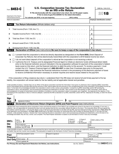 IRS Form 8453-C 2018 Printable Pdf