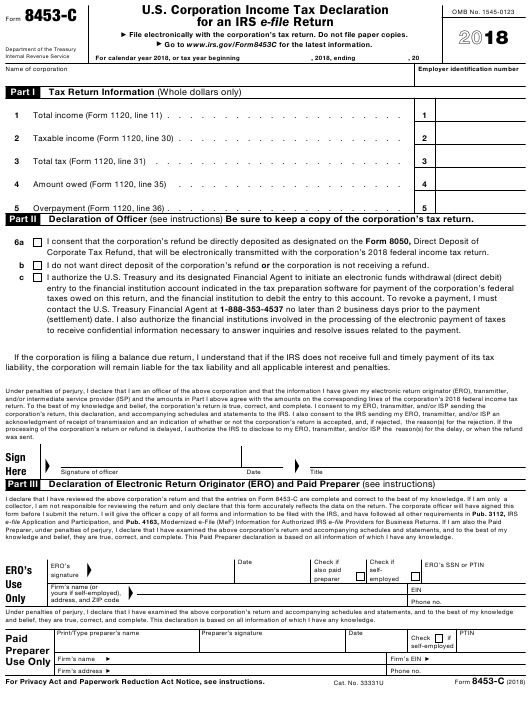 IRS Form 8453-C 2018 Fillable Pdf