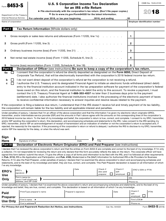 IRS Form 8453-S 2018 Printable Pdf
