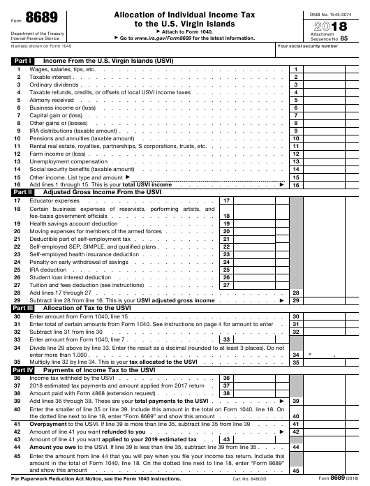 IRS Form 8689 2018 Fillable Pdf