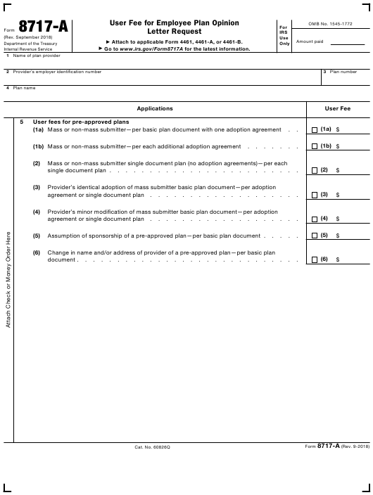 IRS Form 8717-A Download Fillable PDF, User Fee for Employee Plan