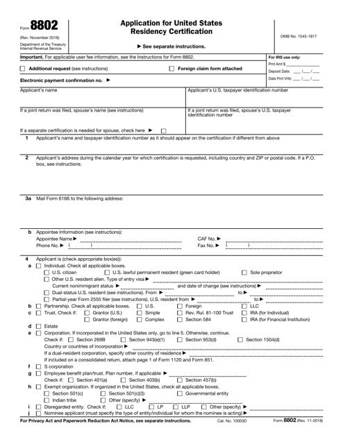IRS Form 8802  Printable Pdf