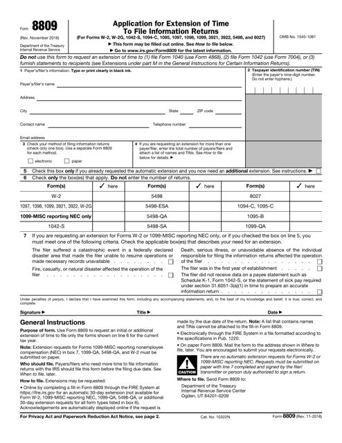 IRS Form 8809 Fillable Pdf