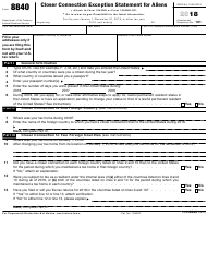 "IRS Form 8840 ""Closer Connection Exception Statement for Aliens"", 2018"