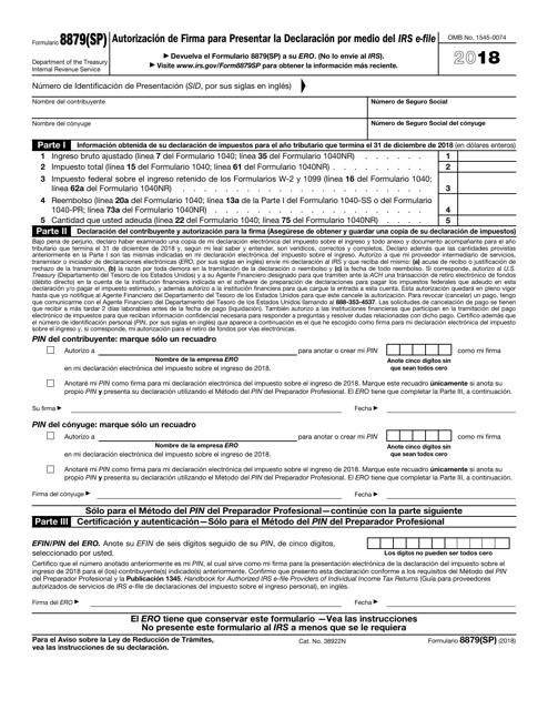 IRS Form 8879(SP) 2018 Printable Pdf