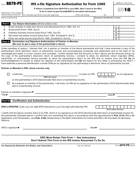 form 1065 filing instructions 2018  IRS Form 10-PE Download Fillable PDF 10, IRS E-File ...
