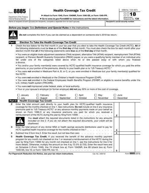 IRS Form 8885 2018 Printable Pdf