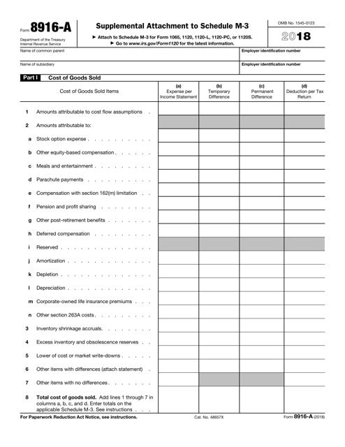 IRS Form 8916-A 2018 Printable Pdf