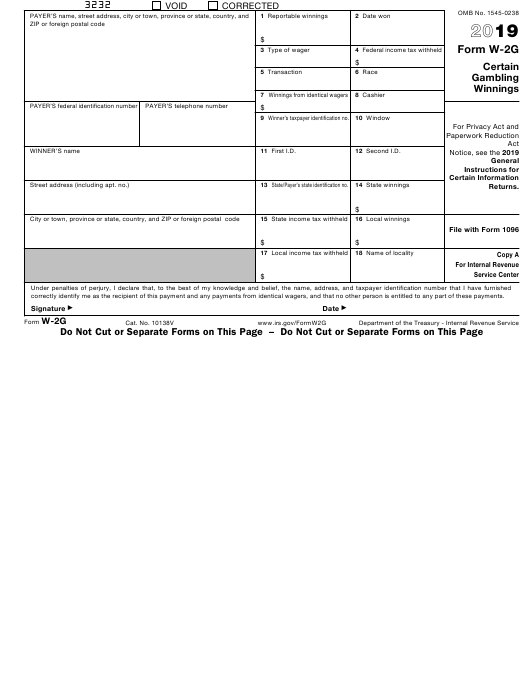 IRS Form W-2G 2019 Fillable Pdf