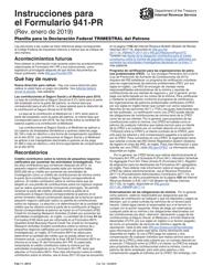 """Instrucciones para IRS Formulario 941-PR """"Planilla Para La Declaracion Federal Trimestral Del Patrono"""" (Puerto Rican Spanish)"""