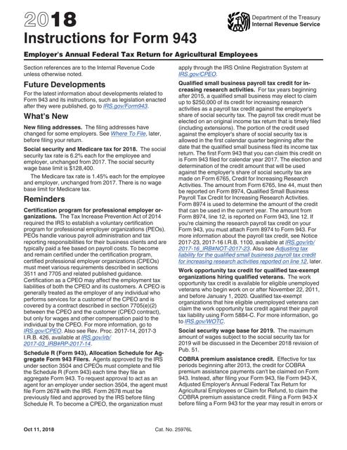 IRS Form 943 2018 Printable Pdf