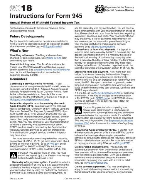 IRS Form 945 2018 Printable Pdf