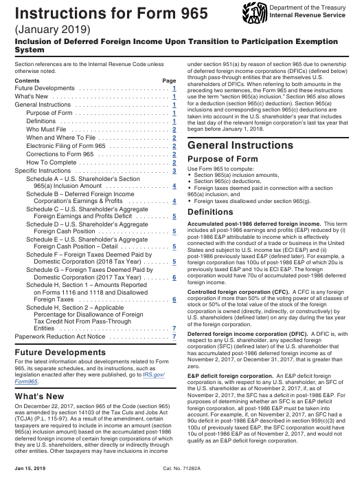 IRS Form 965 Download Printable PDF, Instructions For IRS