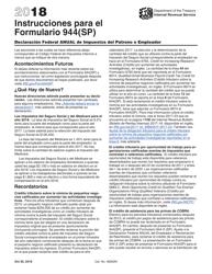 """Instrucciones para IRS Formulario 944(SP) """"Declaracion Federal Anual De Impuestos Del Patrono O Empleador"""" (Spanish), 2018"""