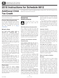"Instructions for IRS Form 1040 Schedule 8812 ""Additional Child Tax Credit"", 2018"