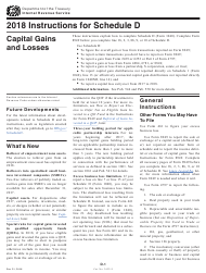 Instructions for IRS Form 1040 Schedule D - Capital Gains and Losses 2018