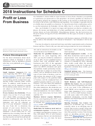"Instructions for IRS Form 1040 Schedule C ""Profit or Loss From Business (Sole Proprietorship)"", 2018"