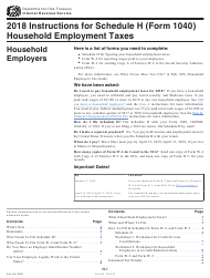 Instructions for IRS Form 1040 Schedule H - Household Employment Taxes 2018